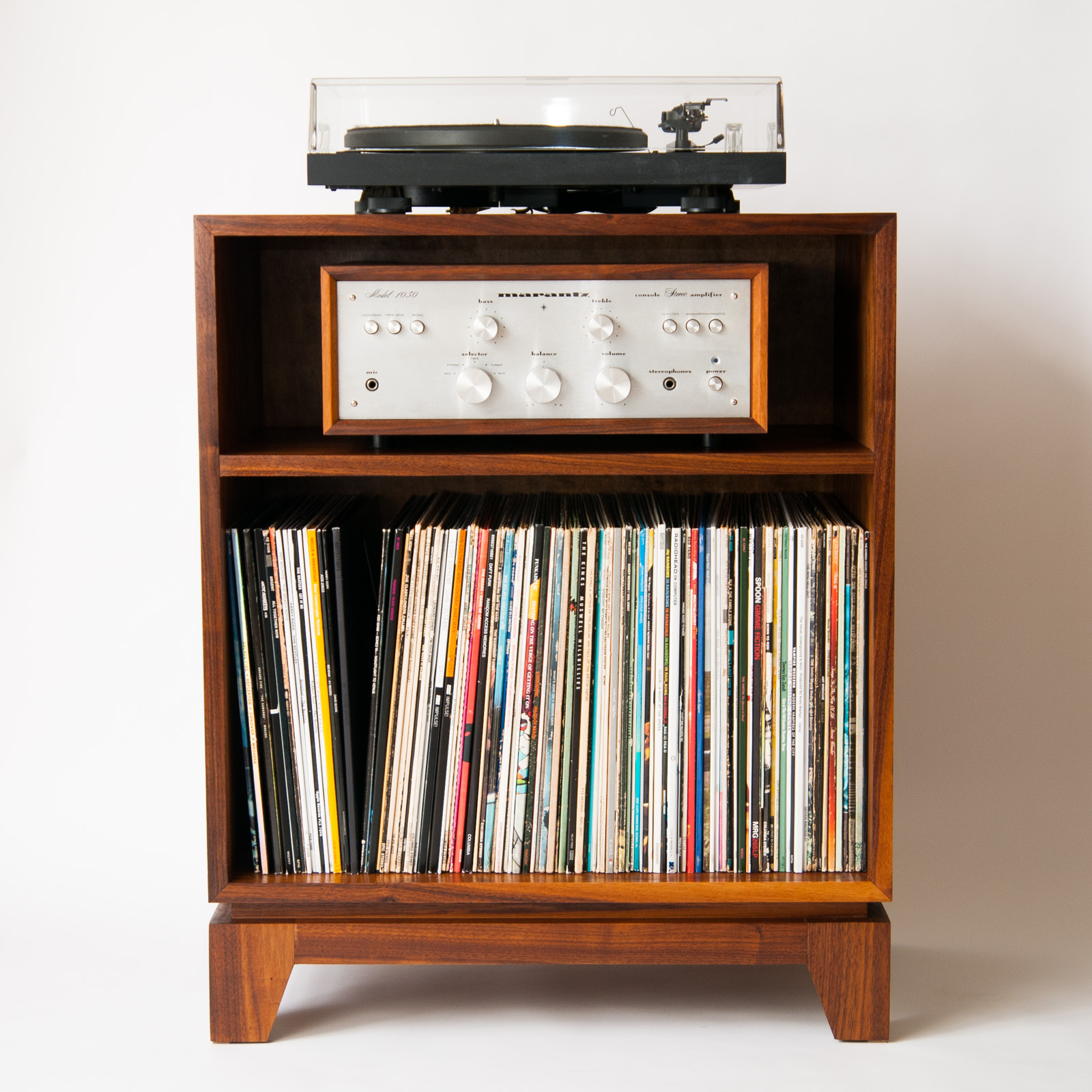 Stereo Cabinet With Equipment And Records